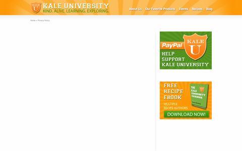 Screenshot of Privacy Page kaleuniversity.org - Privacy Policy - Kale University - captured Sept. 30, 2014