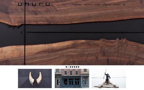 Screenshot of Home Page uhurudesign.com - UHURU | Design, Craft and Style in Handmade Furniture - captured Jan. 17, 2016