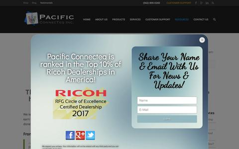 Screenshot of Testimonials Page pacificconnecteq.com - Testimonials - Pacific ConnecTeq - Ricoh - Long Beach California - captured May 13, 2017