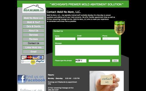 "Screenshot of Contact Page moldnomorellc.com - \"" Michigans Premier Mold Abatement Soultion \"" Mold No More, LLC. - captured Oct. 7, 2014"