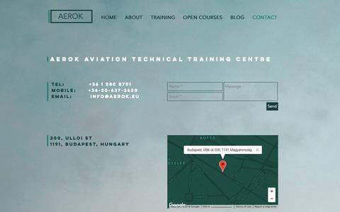 Screenshot of Contact Page aerok.eu - CONTACT | Hungary | AEROK Aviation Technical Training Centre - captured Oct. 2, 2018