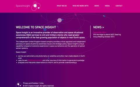 Screenshot of Home Page spaceinsight.co.uk - Space Insight | Welcome to Space Insight - captured Oct. 6, 2014