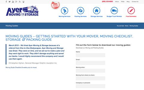 Screenshot of Signup Page ayermoving.com - Moving Guides - Ayer Moving & Storage, Ayer MA - captured Feb. 6, 2016