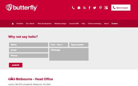 Screenshot of Contact Page butterflyinternet.com.au - Web Development Company | Australia - captured March 2, 2016