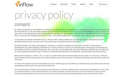 Screenshot of Privacy Page inflowinventory.com - inFlow Inventory Software | Inventory System - inFlow Inventory Privacy Policy - captured Nov. 6, 2016