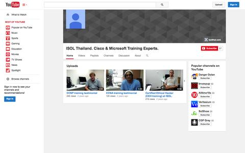 Screenshot of YouTube Page youtube.com - ISOL Thailand. Cisco & Microsoft Training Experts.  - YouTube - captured Oct. 23, 2014