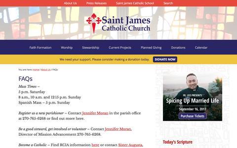 Screenshot of FAQ Page stjames-etown.org - FAQs - Saint James Catholic Church - captured April 27, 2017