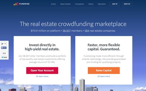 Screenshot of Home Page fundrise.com - Fundrise | The Leading Real Estate Crowdfunding Marketplace - captured Jan. 15, 2015