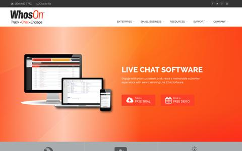 Screenshot of Home Page whoson.com - Live Chat Software | Live Chat Software for Websites | WhosOn - captured Sept. 19, 2014