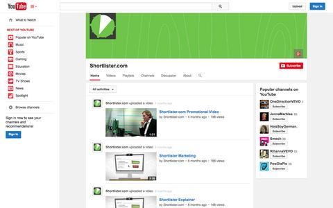 Screenshot of YouTube Page youtube.com - Shortlister.com  - YouTube - captured Oct. 26, 2014