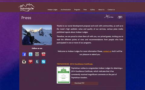 Screenshot of Press Page andeanlodges.com - Press releasesAndean Lodges – Ausangate Circuits - captured Sept. 26, 2014