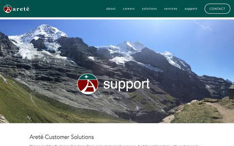 Screenshot of Support Page areteinc.com - support — areté inc - captured Oct. 4, 2018