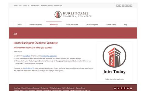Screenshot of Signup Page burlingamechamber.org - Join - The Burlingame Chamber of Commerce - captured Oct. 7, 2018