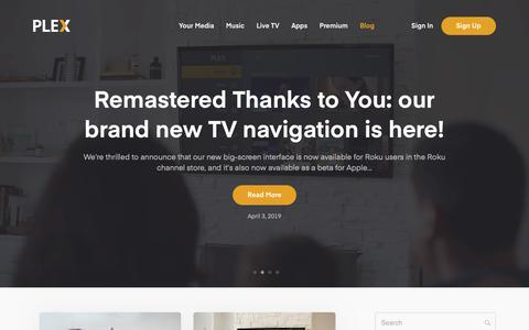 Screenshot of Blog plex.tv - Blog   Plex - captured May 1, 2019