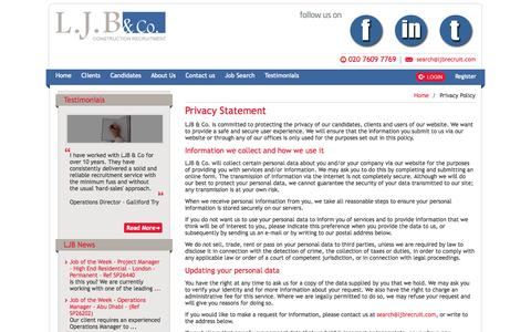 Screenshot of Privacy Page ljbrecruit.com - LJB & Co. | Specialists in Construction and Engineering Recruitment  |  UK - captured Oct. 1, 2014