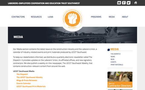 Screenshot of Press Page lecetsouthwest.org - Media - LECET Southwest - captured Sept. 26, 2014