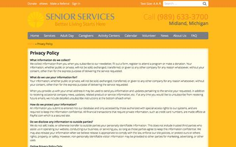 Screenshot of Privacy Page seniorservicesmidland.org - Privacy Policy - Senior Services of Midland County - captured Sept. 30, 2014
