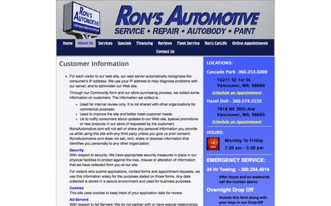 Screenshot of Privacy Page ronsautomotive.com - Privacy Policy - Ron's AutoBody & Collision - captured Oct. 6, 2014