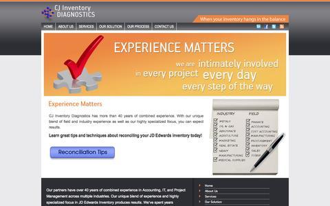 Screenshot of About Page cjinv.com - CJ Inventory Diagnostics | JD Ewards Inventory Reconciliation - captured Oct. 1, 2014