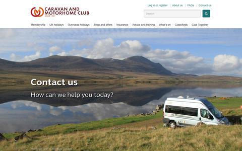 Screenshot of Contact Page caravanclub.co.uk - Contact the Caravan and Motorhome Club | The Caravan Club - captured Dec. 12, 2018