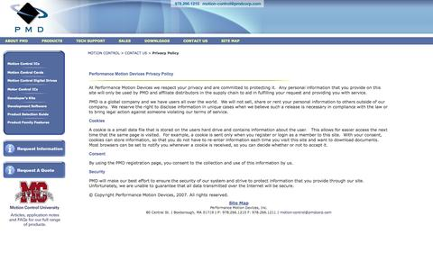 Screenshot of Privacy Page pmdcorp.com - Performance Motion Devices' privacy policy protects our client's privacy - captured Oct. 2, 2014
