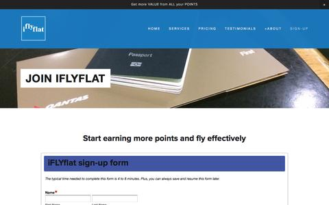 Screenshot of Signup Page iflyflat.com.au - Join iFLYFLAT — IFLYFLAT - The Points Whisperer - captured Nov. 26, 2016