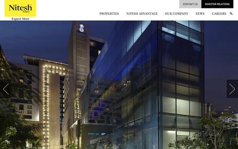 Screenshot of Home Page niteshestates.com - Top Real Estate Development Company in India | Luxury Developers India | Nitesh Estates - captured Sept. 24, 2018