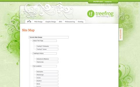 Screenshot of Site Map Page treefrog.ca - Site Map - Treefrog Interactive - captured Sept. 25, 2014