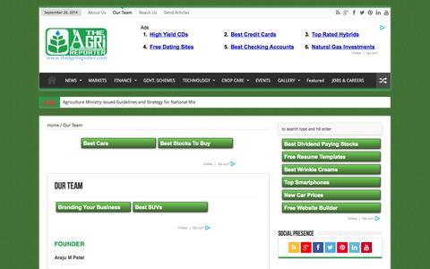 Screenshot of Team Page theagrireporter.com - Our Team | TheAgriReporter - captured Sept. 26, 2014