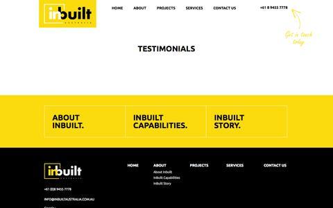 Screenshot of Testimonials Page inbuiltaustralia.com.au - Inbuilt Australia :: Testimonials - captured Sept. 30, 2014