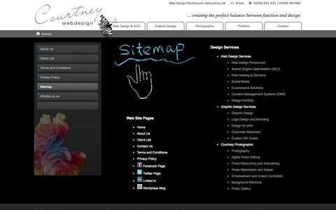 Screenshot of Site Map Page courtneyuk.com - Sitemap | Courtney Web Design, Website Design, Portsmouth, UK - captured Oct. 3, 2014