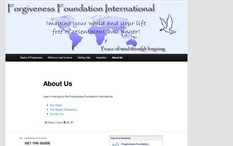 Screenshot of About Page forgivenessfoundation.org - Forgiveness Foundation International   About Us - captured Sept. 30, 2014