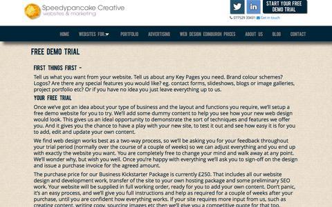 Screenshot of Trial Page speedypancake.co.uk - FREE Website Demo Trial - captured Oct. 7, 2014