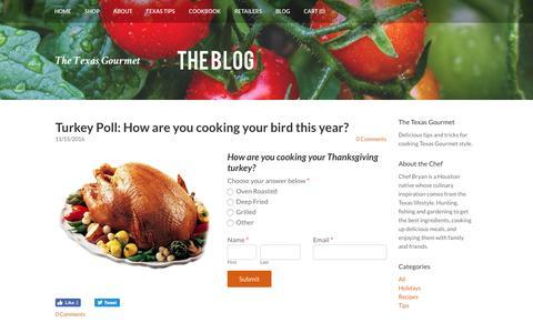 Screenshot of Blog thetexasgourmet.com - The Texas Gourmet - The Texas Gourmet Blog - captured Dec. 1, 2016