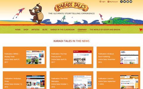 Screenshot of Press Page karaditales.com - IN THE NEWS – KARADI TALES - captured Oct. 16, 2017