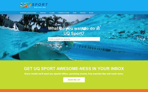 Screenshot of Home Page uqsport.com.au - UQ Sport - captured Sept. 22, 2014
