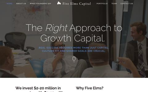 Screenshot of Home Page fiveelms.com - Five Elms Capital - captured Sept. 25, 2015