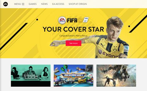 Screenshot of Home Page ea.com - Electronic Arts Official Home Page - captured July 23, 2016