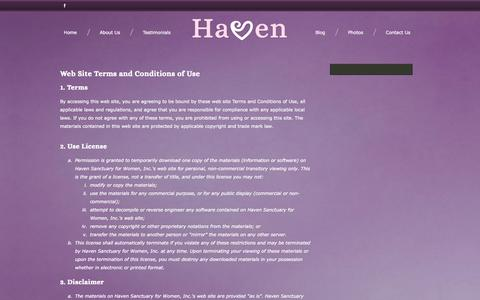 Screenshot of Terms Page havenwomensministry.org - Haven Sanctuary for Women, Inc.  - Terms of Use - captured Oct. 2, 2014