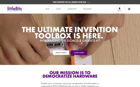 Screenshot of Home Page littlebits.cc - littleBits: DIY Electronics For Prototyping and Learning - captured Oct. 14, 2015