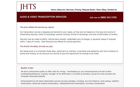 Screenshot of Pricing Page jhts.co.uk - Audio & Video Transcription Prices - captured Oct. 4, 2014