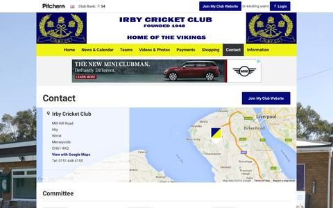 Screenshot of Contact Page irbycricketclub.co.uk - Contact - Irby Cricket Club - captured March 11, 2016