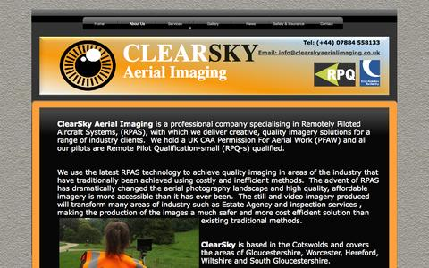 Screenshot of About Page clearskyaerialimaging.co.uk - About Us - captured Oct. 2, 2014