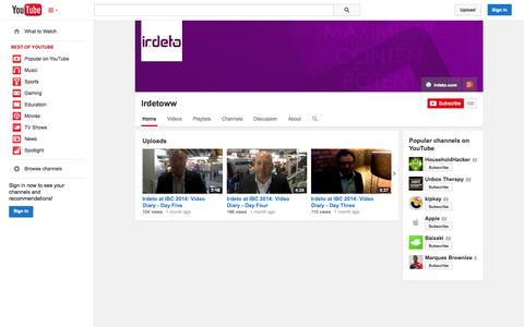 Screenshot of YouTube Page youtube.com - Irdetoww  - YouTube - captured Oct. 24, 2014