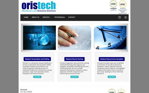Screenshot of Home Page Site Map Page oristech.com - Home - Oristech Inc. - captured Nov. 15, 2018