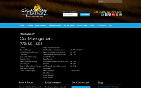 Screenshot of Team Page crystalbaycasino.com - Staff and Management Directory|Crystal Bay Casino - captured Sept. 30, 2014