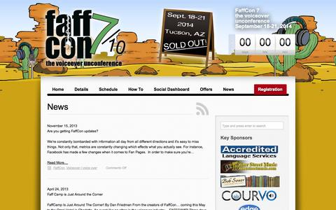 Screenshot of Press Page faffcon.com - News | FaffCon: the voiceover unconference official site - captured Sept. 30, 2014