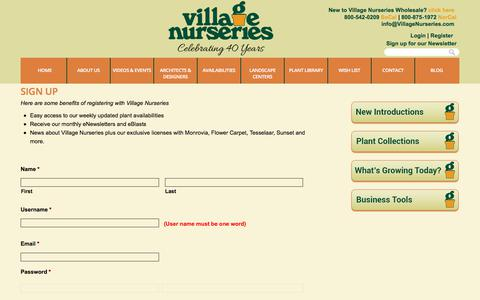 Screenshot of Signup Page villagenurseries.com - Sign Up | Village Nurseries - captured June 19, 2017