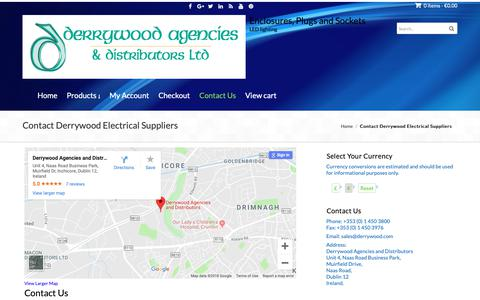 Screenshot of Contact Page derrywood.com - Contact Derrywood Agencies & Distribution   Electriacal Suppliers - captured Oct. 8, 2018