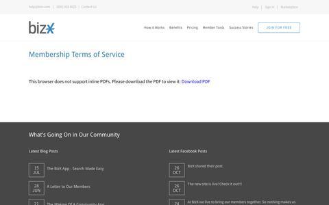 Screenshot of Terms Page bizx.com - Legal – BizX - captured Oct. 27, 2016